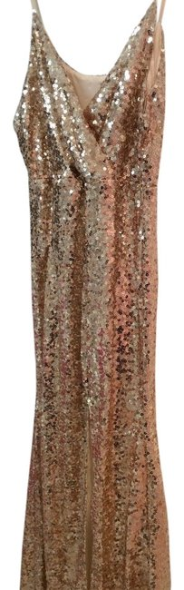 Item - Gold with Sequins Long Night Out Dress Size 12 (L)