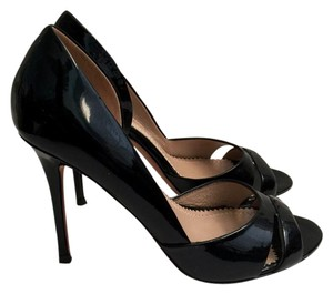 Jean-Michel Cazabat Patent Leather Designer Heels High Heels Open Toe Black Pumps