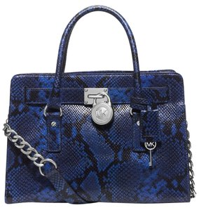 Michael Kors Hamilton East West Satchel in Electric Blue / Silver