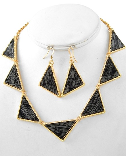 Other Gold Tone Grey Acrylic Necklace & Fish Hook Earring Set