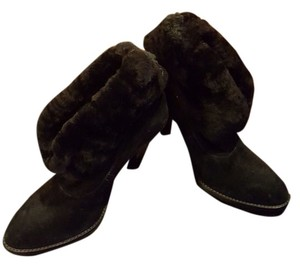 Steve Madden Suede Leather Faux Fur Black Boots