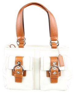 Coach Satchel in White/Camel