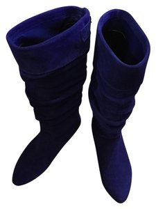 Steve Madden Suede Leather Buckle Royal Blue Boots