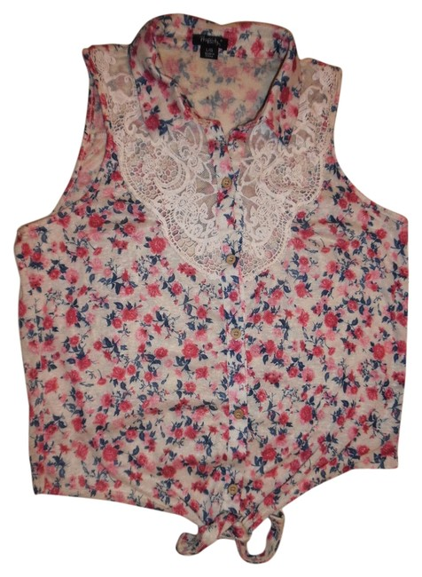 Item - Ivory Pink Blue Floral Roses Sleeveless Lace Tie-in-front Blouse Size 12 (L)