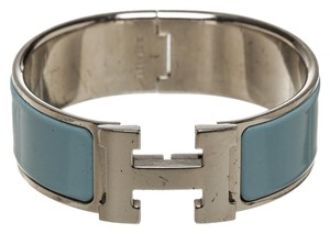 Hermès Hermes Light Blue Enamel Wide Bracelet