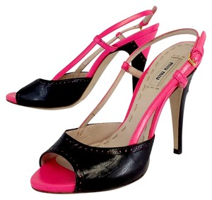 Miu Miu Black Hot Pink Leather Peep Toe Slingbacks Sandals