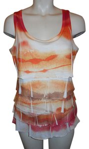 Coldwater Creek Ruffled Top orange, white, brown & tan print