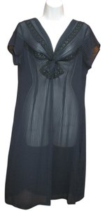 Isabella Bird short dress Black Silk Sheer Shift Vneck on Tradesy