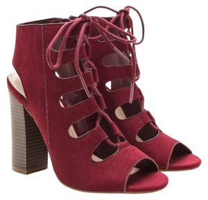 Bamboo Chunky Heel Vegan Lace Up Spring Time Burgundy Sandals