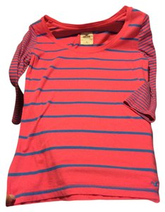 Hollister Abercrombie Shirt Tee T Shirt Pink and blue stripe