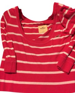 Hollister Chanel Louis Vuitton T Shirt Pink and white stripe