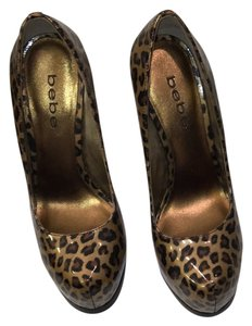 bebe Patent leather leopard print Platforms
