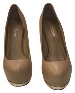 bebe Nude w/ gold trim Platforms