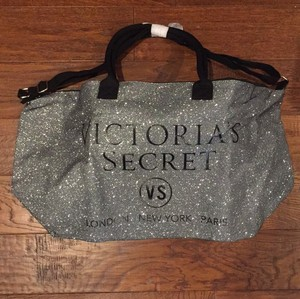 Victoria's Secret Large Travel Limited Edition Silver and black glitter Travel Bag