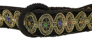Carolyne Barton Night Western Bossy Beads Black Velvet Belt
