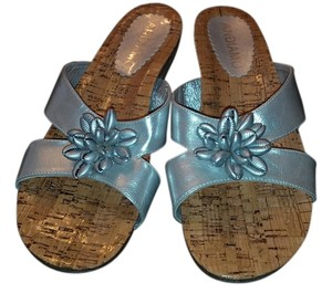 Andiamo Sandals Faux Leather Silver Flats