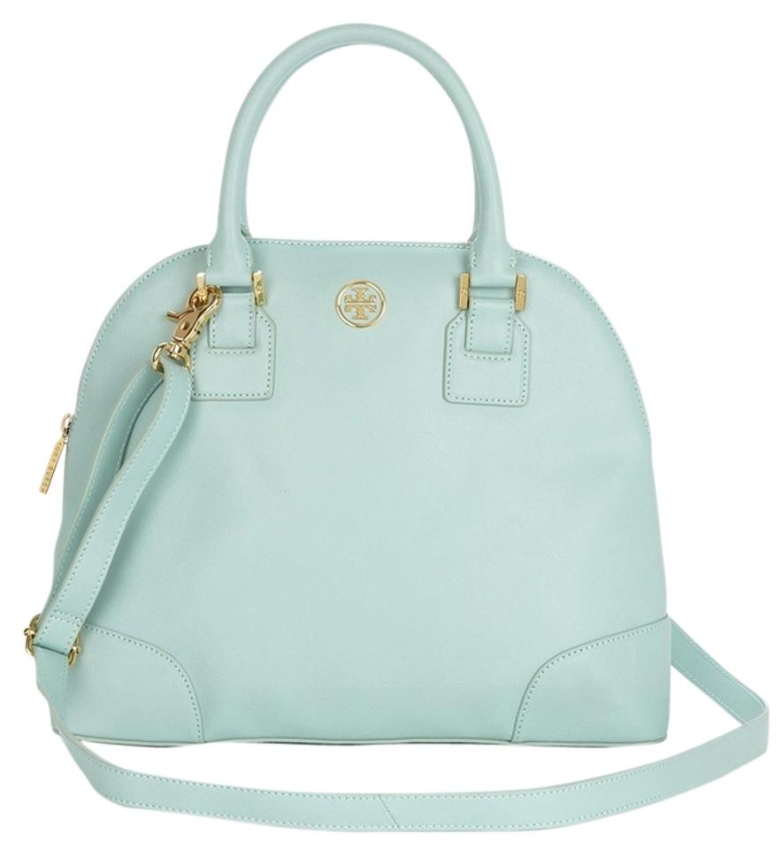 8b9797ed75 Tory Burch Robinson Summer Dome Crossbody Purse Mint Green Leather Satchel