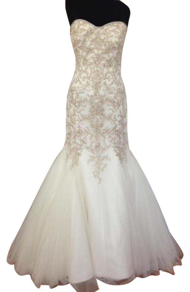 Impression Bridal Ivory Silver Gold Embroidered Tulle 10213 Modern