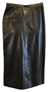 Vintage Leather Rocker Skirt Black
