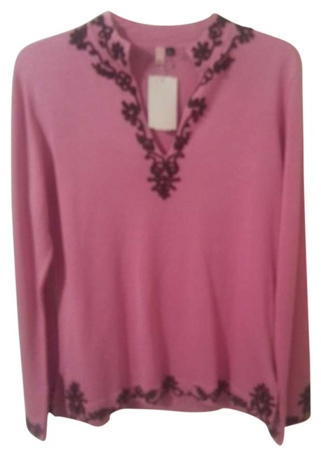 Preload https://img-static.tradesy.com/item/132254/pink-and-brown-brownembroidered70-silk-sweaterpullover-size-12-l-0-0-650-650.jpg