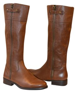 Franco Fortini BROWN LEATHER ZIPPER BOOTS Boots