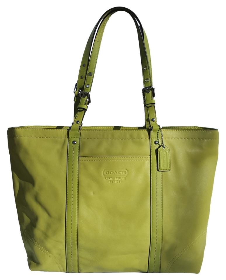 Coach Leather Xl Designer Rare Tote In Lime Green