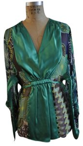 M Missoni Silk Waist Tunic Print Top multi - jewel tone emerald green, blue, purple, white