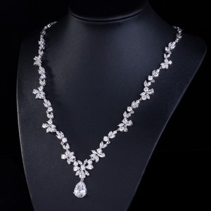 Marquise Flower Cubic Zirconia Necklace Set