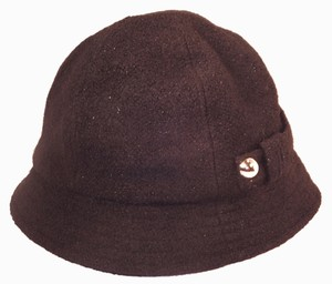 Other August Accessories Cloche hat Women's Black Glitter shimmer wool blend silver buttons strap accent