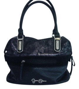 Jessica Simpson Leather Satchel in Black, Pewter