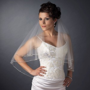 Elegance By Carbonneau Two Layer Beaded Edge Elbow Wedding Veil
