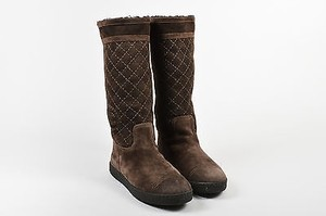 Chanel Shearling Lined Brown Boots