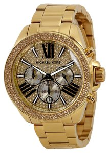 Michael Kors Crystal Pave Dial Gold tone Stainless Steel Unisex Designer watch