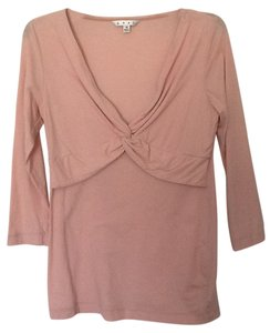 CAbi Knot Front V-neck T Shirt Baby Pink