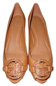 Tory Burch Flat Flats Leather Royal Tan/Gold Wedges