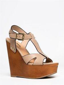 Soda Blu Beige Wedges
