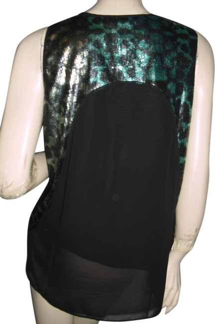 Item - Seafoam Sequins Glittery Swing Sexyback Blouse Size 6 (S)