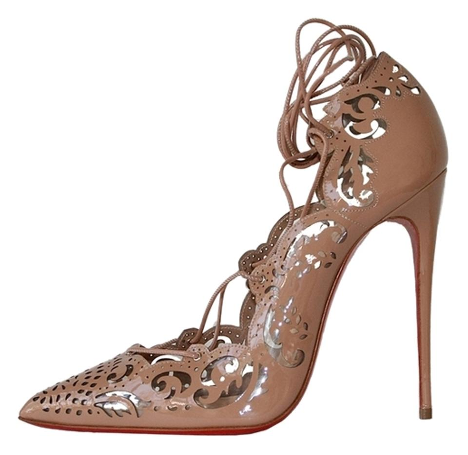 competitive price 5f6b3 8f7d0 Christian Louboutin Nude Impera 120 Patent Leather Pvc Lace Up Laser Cut  Heels Pumps Size US 9.5