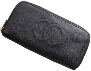 Chanel Authentic CHANEL Caviar Skin Genuine Leather Zip-Around Long Wallet with box