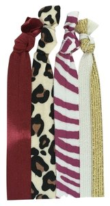 Free People Animal Print, Gold, and Red Ombre Fabric Elastic Ponytail Hair Ties