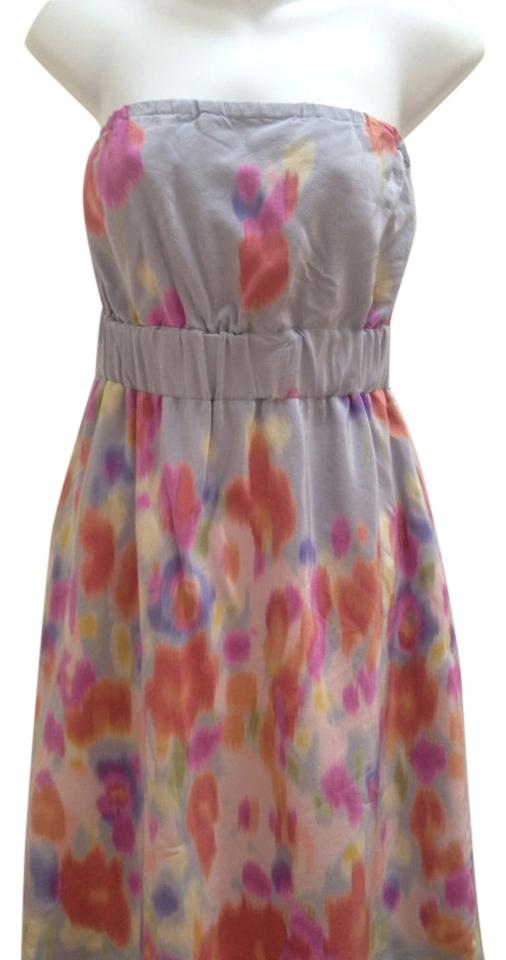 00a534efc116 Maeve Gray Anthropology Silk Watercolor Geometric Strapless Cocktail Dress