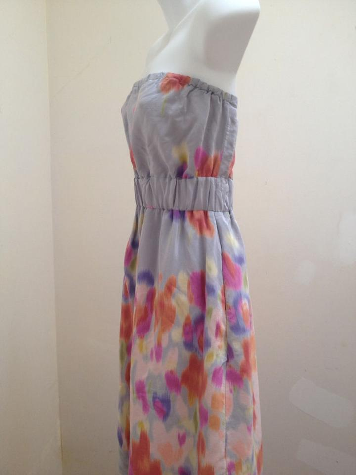 1b43d5db6627 Maeve Gray Anthropology Silk Watercolor Geometric Strapless Knee Length Cocktail  Dress Size 8 (M) - Tradesy