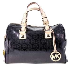 Michael Kors Grayson Monogram Patent Leather Satchel in Black