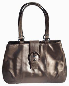 Coach Metallic Leather Tote Satchel in Bronze