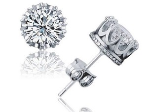 Silver Buy 1 Get 1 Free Sterling Plated White Zircon Studs Free Shipping Earrings