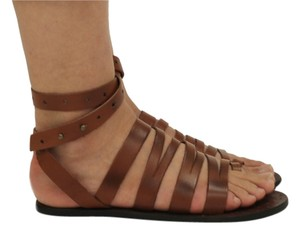 Free People Festival Artsy Leather Summer Whiskey Brown Sandals