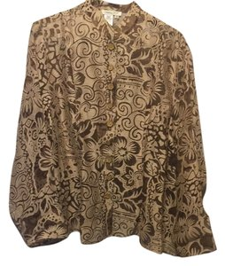 Coldwater Creek Button Down Shirt Transparent brown and tan design