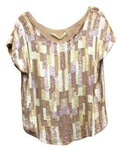 Graham Spencer Cap Sleeve Size 10 Sequence Top Cream/lillac