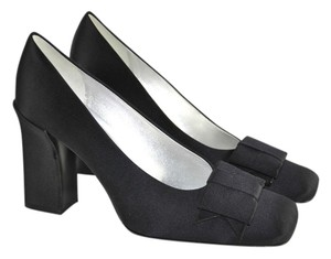 Philippe Model Satin Square Toe Black Pumps