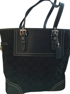 Coach Monogram Leather Tote in black